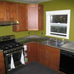 Stainless Steel Countertop with green walls